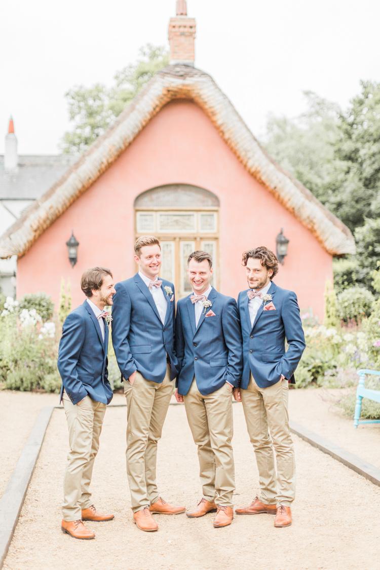 Groom Groomsmen Blazer Jacket Blue Sand Chinos Bow Ties Simple Elegant Luxe Blush Pink Wedding http://katymelling.com/