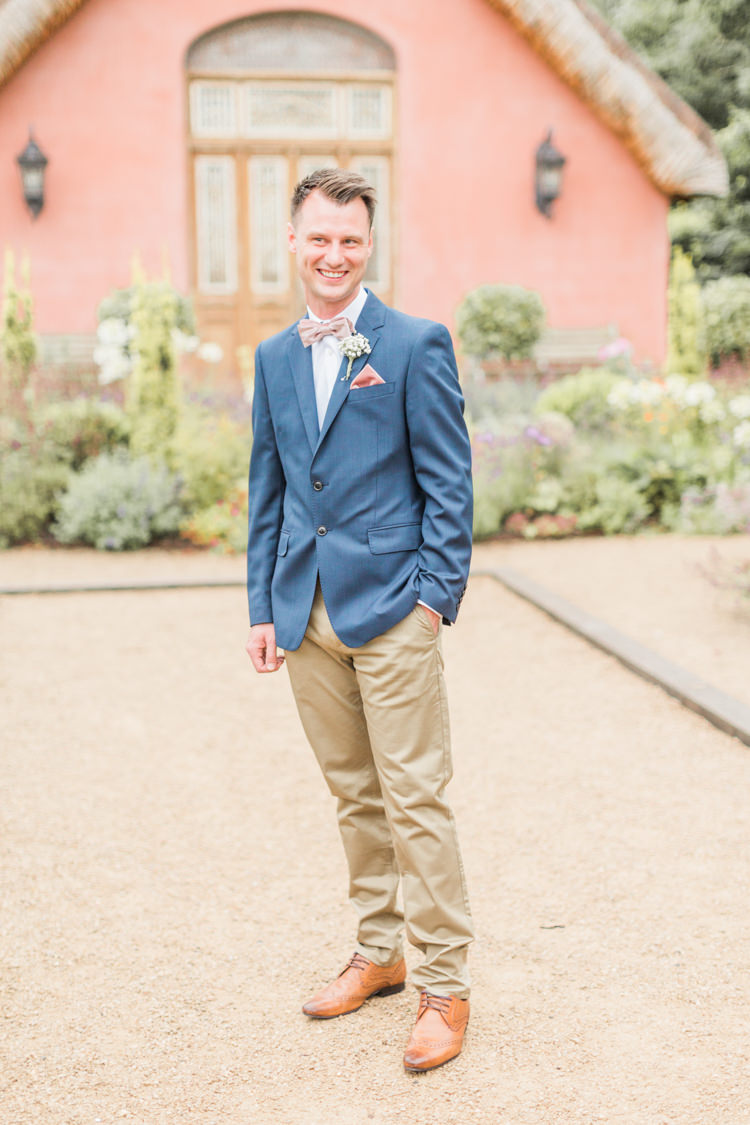 Groom Blazer Jacket Chinos Bow Tie Simple Elegant Luxe Blush Pink Wedding http://katymelling.com/