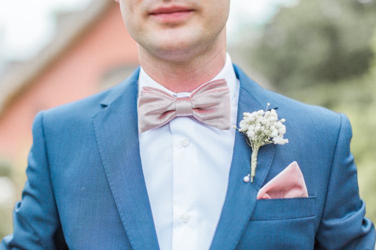 Pink Velvet Bow Tie Groom Pocket Square Simple Elegant Luxe Blush Pink Wedding http://katymelling.com/