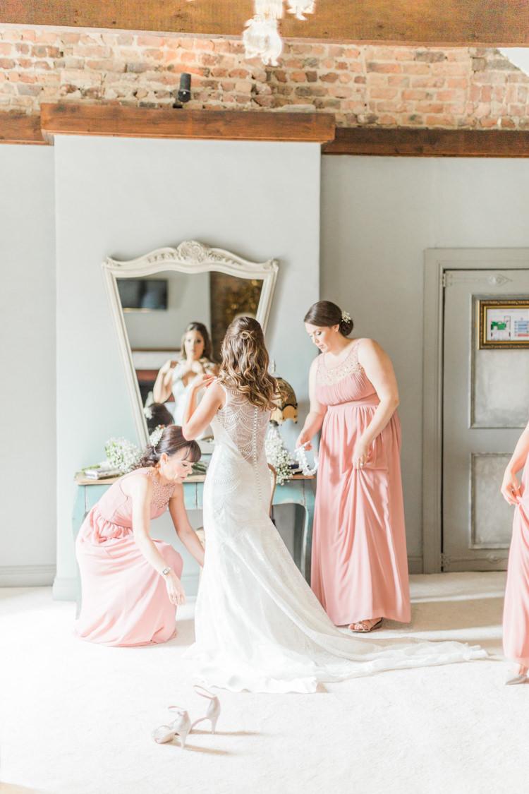 Dress Gown Bride Bridal Illusion Back Sheer Train Simple Elegant Luxe Blush Pink Wedding http://katymelling.com/