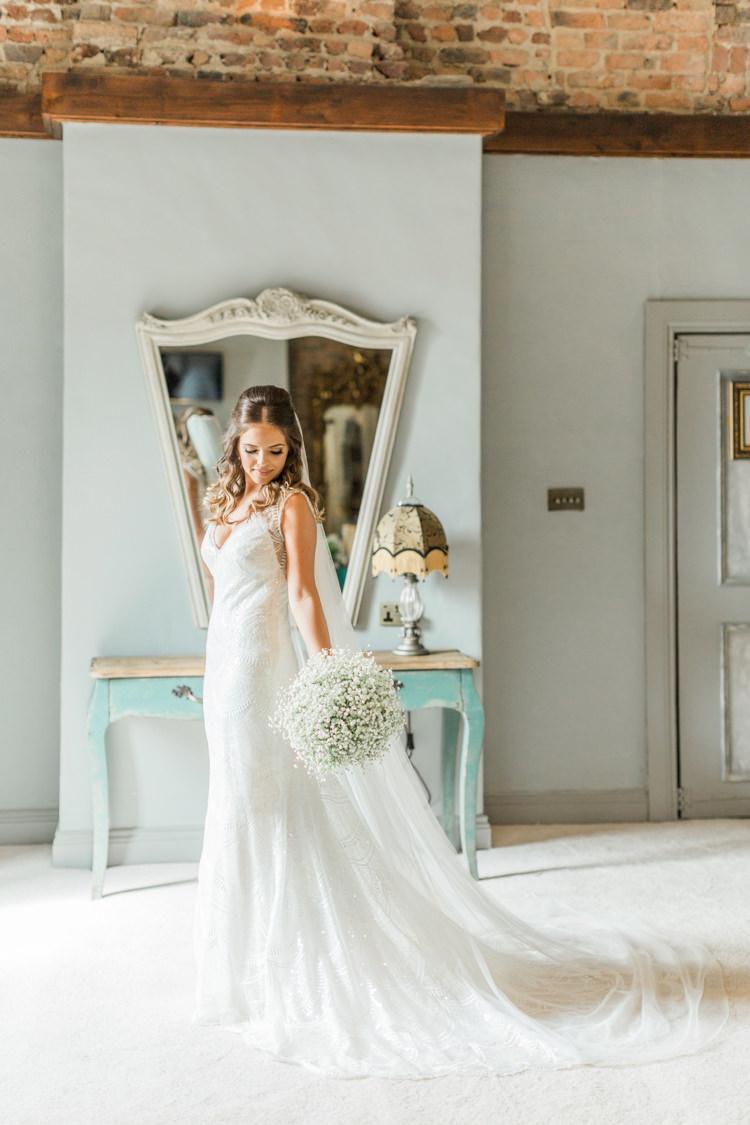 Beaded Dress Gown Bride Bridal Train Simple Elegant Luxe Blush Pink Wedding http://katymelling.com/