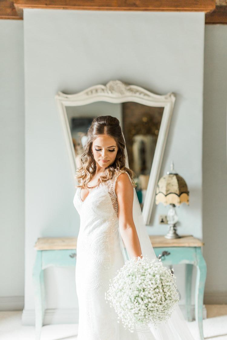 Bride Bridal Dress Gown Beads Veil Simple Elegant Luxe Blush Pink Wedding http://katymelling.com/