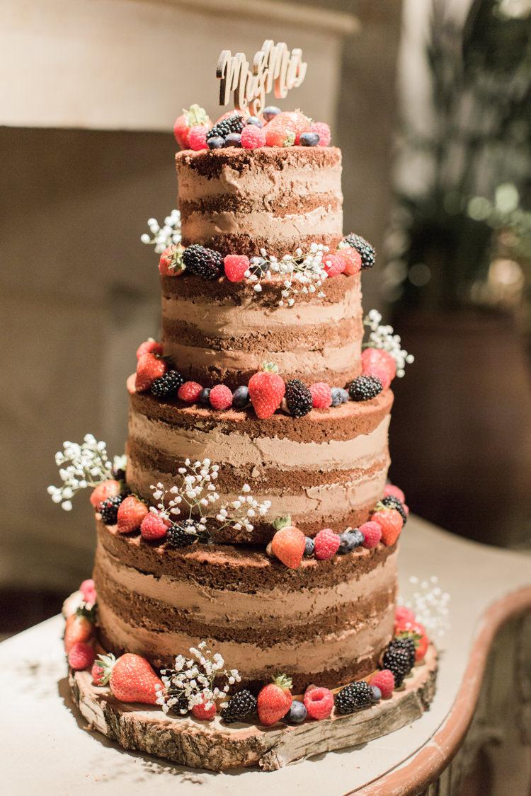 Naked Cake Chocolate Layer Sponge Fruit Berries Simple Elegant Luxe Blush Pink Wedding http://katymelling.com/