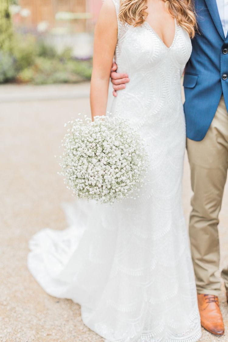 Beaded V Neckline Bride Bridal Dress Gown Simple Elegant Luxe Blush Pink Wedding http://katymelling.com/