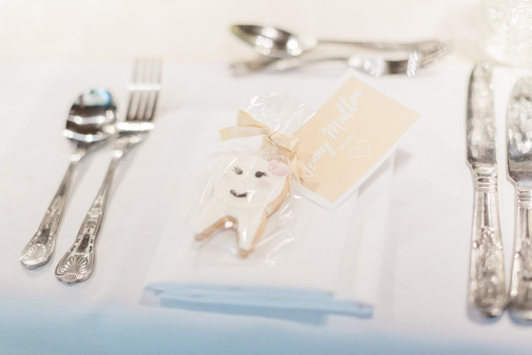 Tooth Cookie Favour Simple Elegant Luxe Blush Pink Wedding http://katymelling.com/