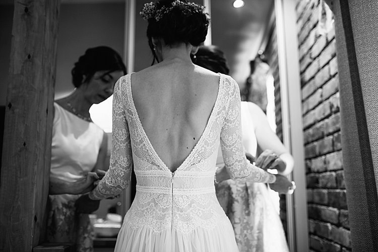 Bride Bridal Maggie Sottero Long Sleeve Lace Low Back Gown Dress Grey Lavender Blush Country Restaurant Wedding http://www.whelanphotography.co.uk/