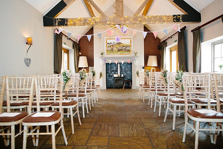 Ceremony Aisle Bunting Fairy Lights Pea Grey Lavender Blush Country Restaurant Wedding http://www.whelanphotography.co.uk/