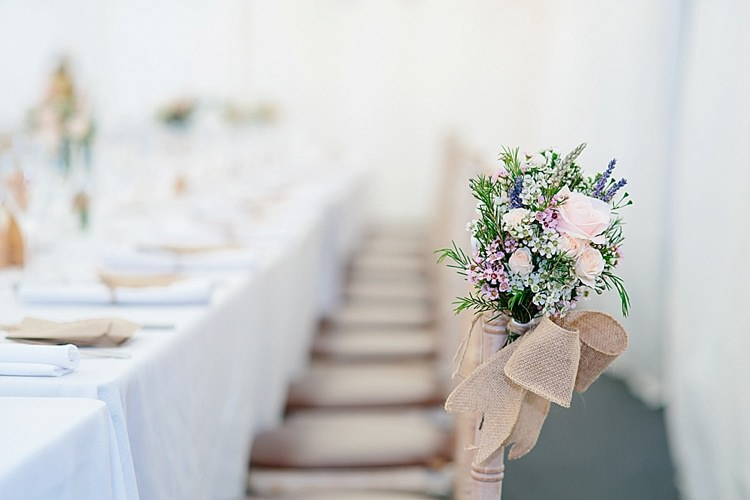 Chair Decor Rose Wax Flowers Posy Hessian Bow Ribbon Grey Lavender Blush Country Restaurant Wedding http://www.whelanphotography.co.uk/