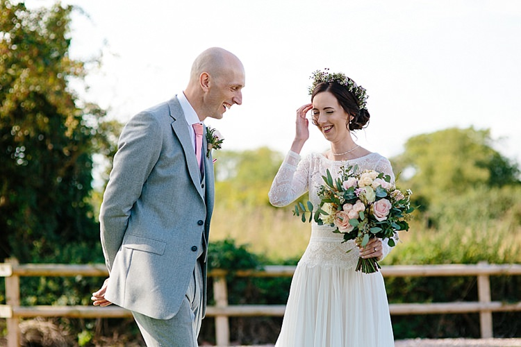 Bride Bridal Maggie Sottero Long Sleeve Lace Low Back Gown Dress Reiss Groom Pink Tie Grey Lavender Blush Country Restaurant Wedding http://www.whelanphotography.co.uk/