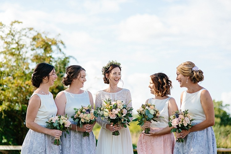 Bride Bridal Maggie Sottero Long Sleeve Lace Low Back Gown Dress Flower Crown Coast Bridesmaids Grey Lavender Blush Country Restaurant Wedding http://www.whelanphotography.co.uk/