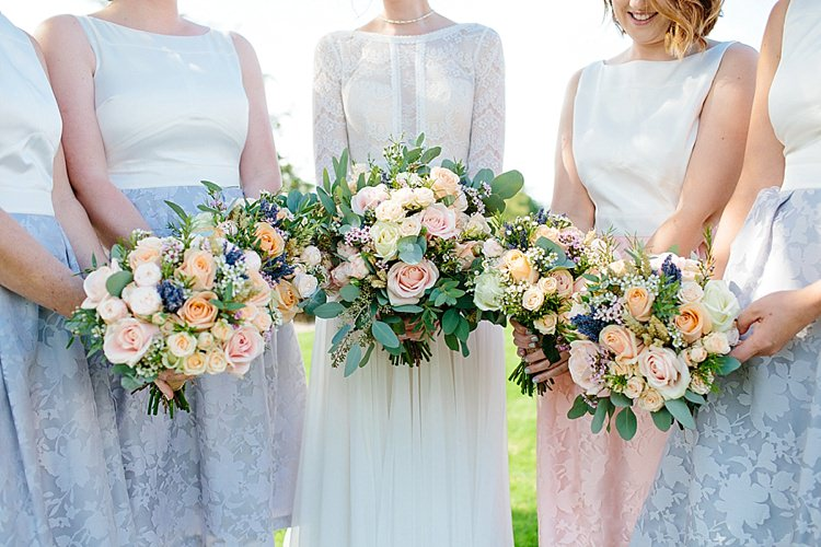 Bride Bridal Maggie Sottero Long Sleeve Lace Low Back Gown Dress Bouquet Rose Peach Pink Wax Flowers Coast Bridesmaids Tea Length Two Piece Grey Lavender Blush Country Restaurant Wedding http://www.whelanphotography.co.uk/