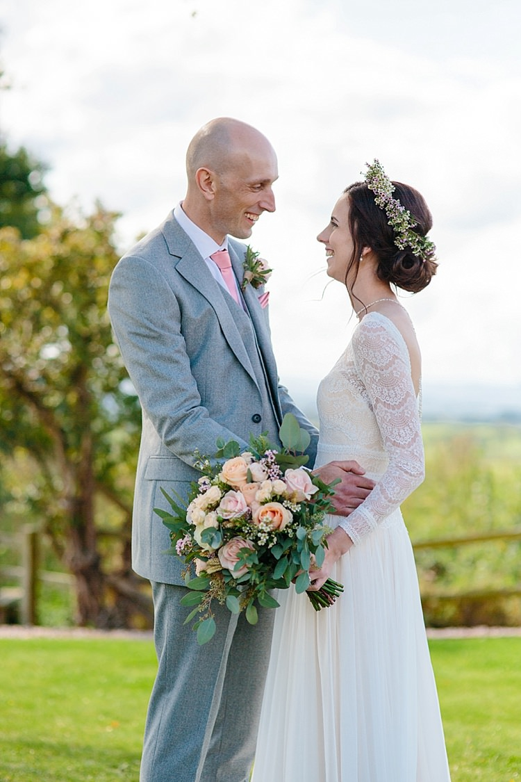 Bride Bridal Maggie Sottero Long Sleeve Lace Low Back Gown Dress Flower Crown Bouquet Reiss Groom Three Piece Waistcoat Pink Tie Grey Lavender Blush Country Restaurant Wedding http://www.whelanphotography.co.uk/