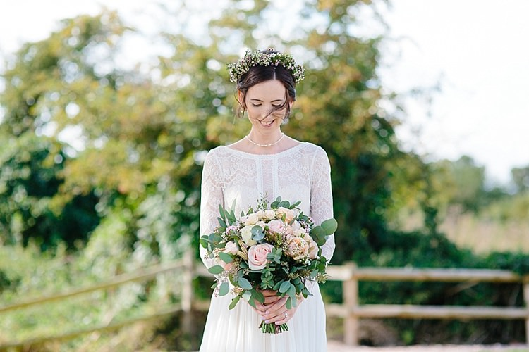 Bride Bridal Maggie Sottero Long Sleeve Lace Low Back Gown Dress Bouquet Greenery Rose Grey Lavender Blush Country Restaurant Wedding http://www.whelanphotography.co.uk/