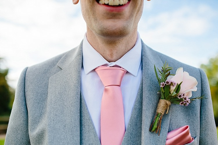 Reiss Groom Three Piece Waistcoat Pink Tie Button Hole Boutonniere Rose Wax Flowers Rosemary Grey Lavender Blush Country Restaurant Wedding http://www.whelanphotography.co.uk/