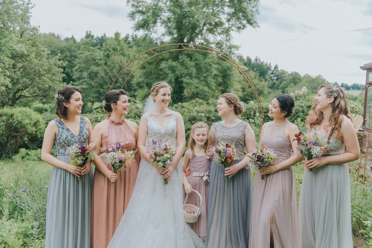 Mismatched Pastel Long Bridesmaid Dresses Incredibly Pretty Thoughtful Tipi Wedding http://katewatersphotography.com/