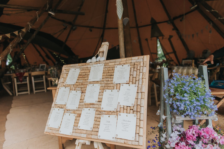 Corks Seating Plan Table Chart Incredibly Pretty Thoughtful Tipi Wedding http://katewatersphotography.com/