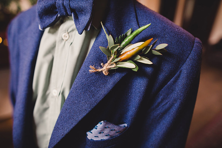Chilli Buttonhole Boutonniere Greenery Groom Fun Happy Colourful Wedding Vegetable Bouquets https://mylo-photography.co.uk/