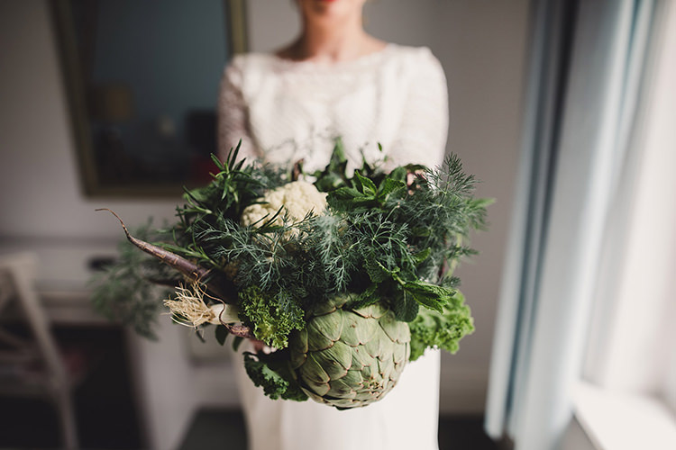 Vegetable Bouquet Cauliflower Artichoke Herb Mint Leek Greenery Lettuce Bride Bridal Fun Happy Colourful Wedding Vegetable Bouquets https://mylo-photography.co.uk/