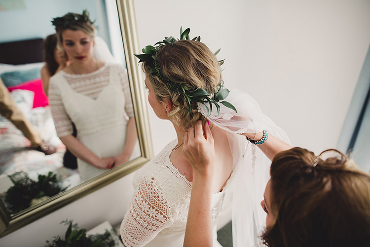 Bride Bridal Lace Guipure Topper Sleeves Dress Gown Foliage Leaf Crown Veil Fun Happy Colourful Wedding Vegetable Bouquets https://mylo-photography.co.uk/