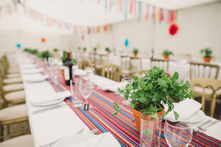 Table Setting Multicoloured Stripy Runner Herbs Terracotta Pot Banqueting Marquee Fun Happy Colourful Wedding Vegetable Bouquets https://mylo-photography.co.uk/