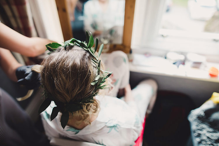 Leaf Greenery Crown Garland Bride Bridal Fun Happy Colourful Wedding Vegetable Bouquets https://mylo-photography.co.uk/