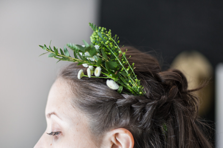 Hair Style Up Do Greenery White Flowers Plait Natural Outdoor Tipi Wedding https://www.ad-photography.co.uk/
