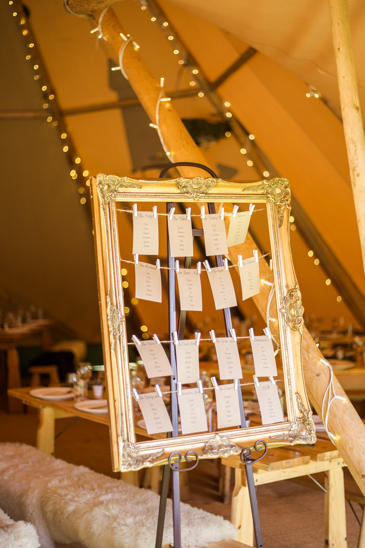 Table Plan Seating Chart Gold Frame Pegs String Natural Outdoor Tipi Wedding https://www.ad-photography.co.uk/