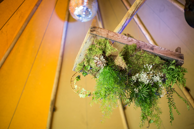 Greenery Foliage Installation Hanging Wood Succulent Moss Natural Outdoor Tipi Wedding https://www.ad-photography.co.uk/