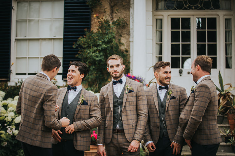 Brown Check Suits Groom Groomsmen Bow Tie Vintage Circus Funfair Wedding http://theliferomantic.co.uk/