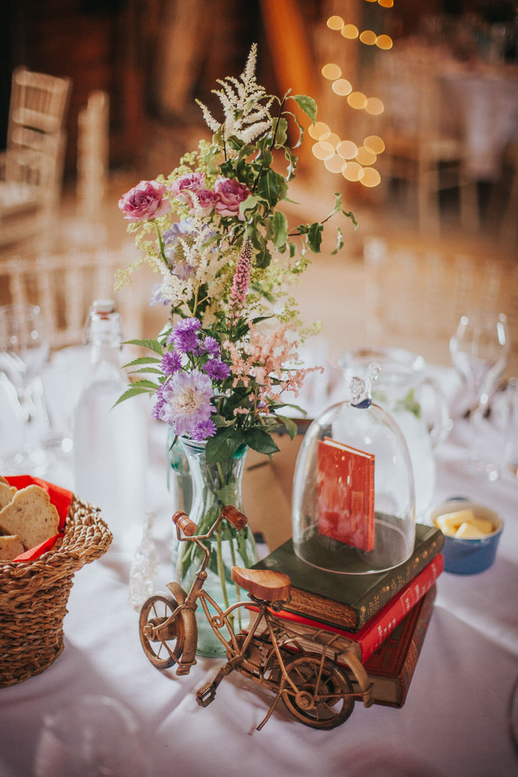 Centrepiece Decor Books Flowers Bell Jar Bicycle Vintage Circus Funfair Wedding http://theliferomantic.co.uk/