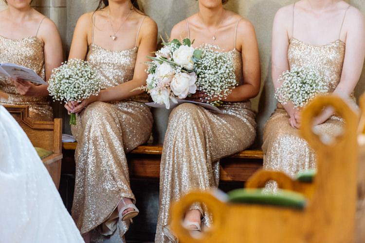Gold Sequin Glitter Bridesmaids Dress Gown Gypsophila Bouquet Cute Summer Festival Tipi Wedding http://www.daffodilwaves.co.uk/