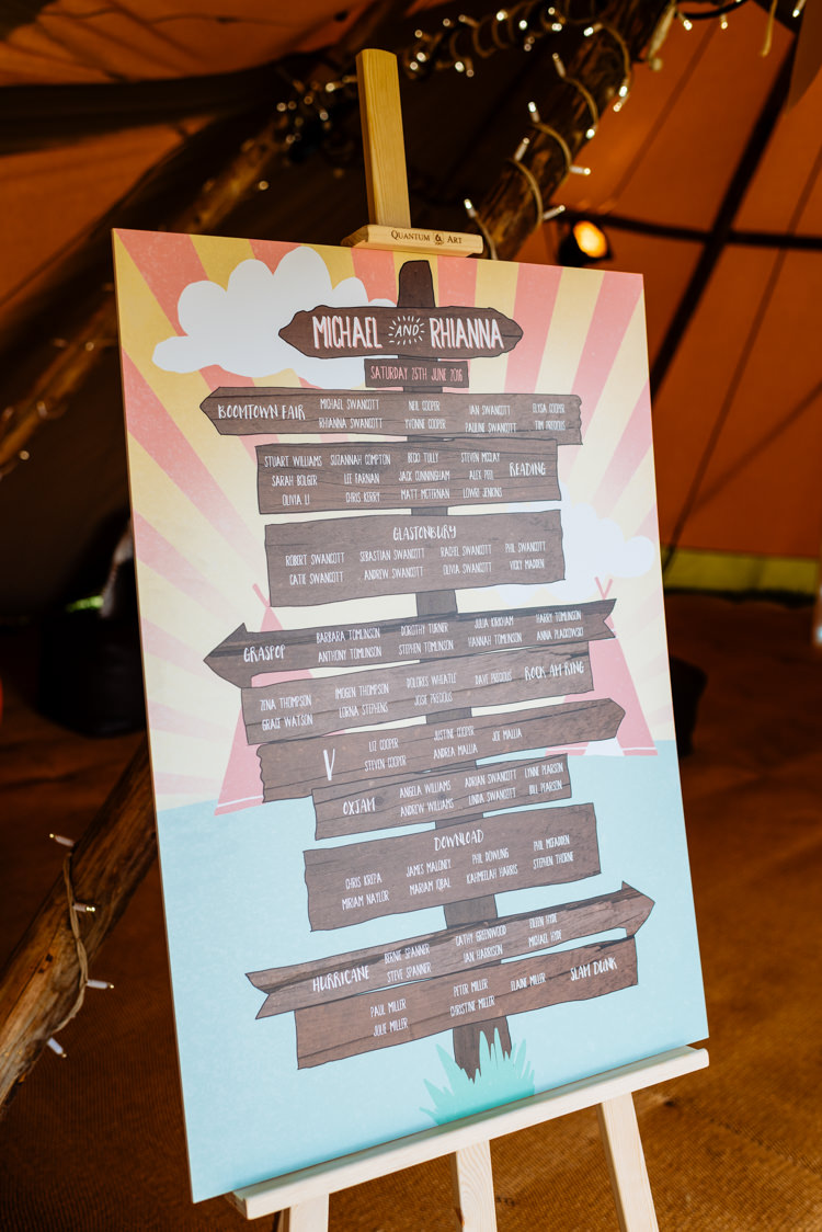 Table Plan Seating Chart Easel Sign Post Cute Summer Festival Tipi Wedding http://www.daffodilwaves.co.uk/