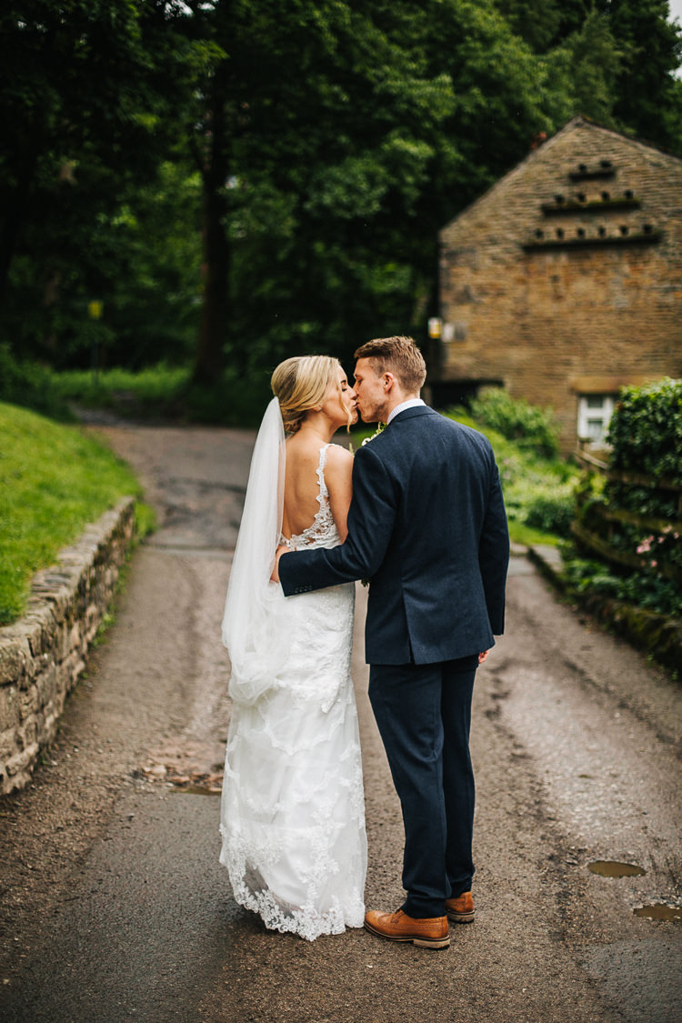 Stella York Lace Dress Gown Bride Bridal Straps Veil Exquisite Relaxed Rustic Barn Wedding http://www.emiliemay.com/