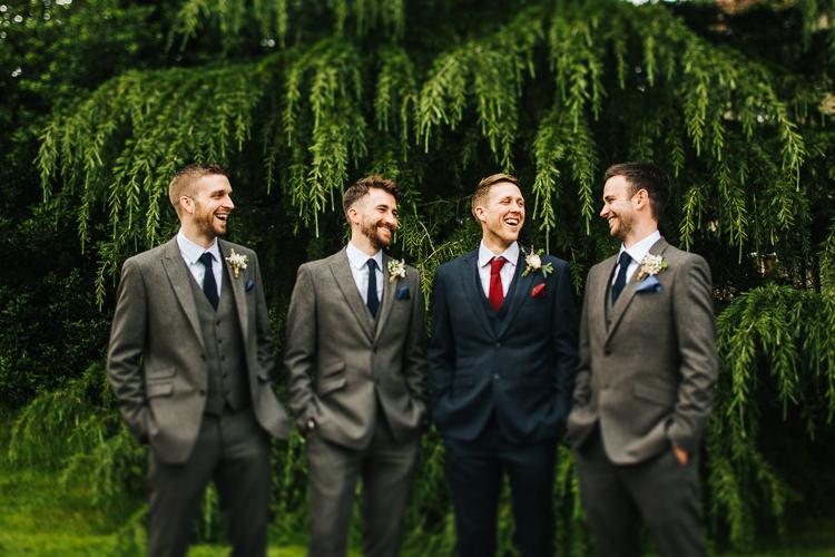 Grey Suits Groomsmen Navy Groom Style Exquisite Relaxed Rustic Barn Wedding http://www.emiliemay.com/