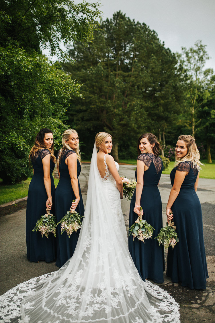 Long Train Lace Dress Gown Bride Bridal Bridesmaids Navy Exquisite Relaxed Rustic Barn Wedding http://www.emiliemay.com/