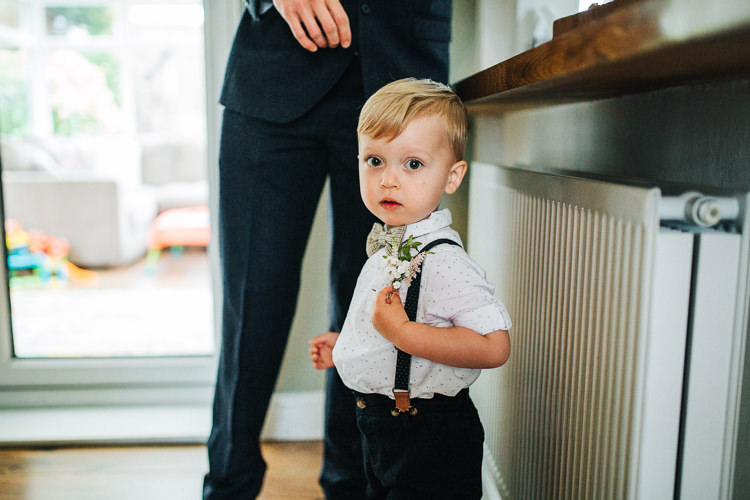 Page Boy Bow Tie Braces Exquisite Relaxed Rustic Barn Wedding http://www.emiliemay.com/