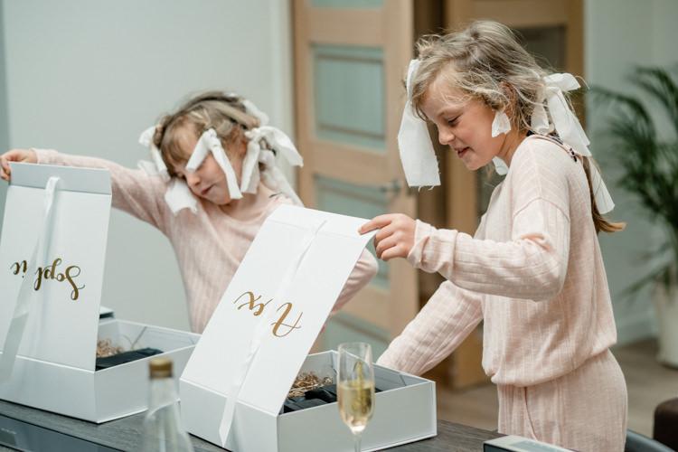 Flower Girls Boxes Gifts Presents Boho Eucalyptus Green White Modern Wedding http://www.euanrobertsonweddings.com/