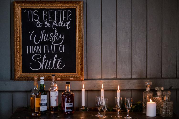 Whisky Bar Drinks Station Candles Sign Boho Eucalyptus Green White Modern Wedding http://www.euanrobertsonweddings.com/
