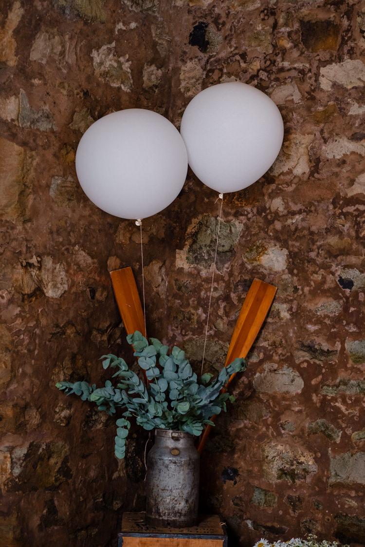 Giant Balloons Greenery Boho Eucalyptus Green White Modern Wedding http://www.euanrobertsonweddings.com/