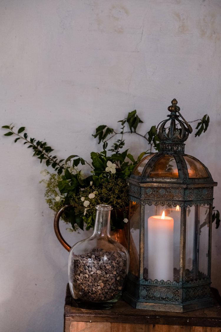 Candle Hurricane Lamp Boho Eucalyptus Green White Modern Wedding http://www.euanrobertsonweddings.com/