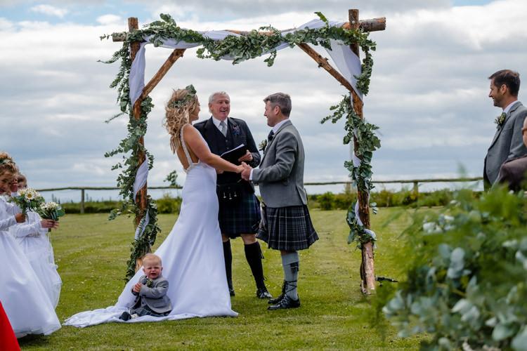 Arbour Backdrop Ceremony Flowers Fabric Greenery Boho Eucalyptus Green White Modern Wedding http://www.euanrobertsonweddings.com/
