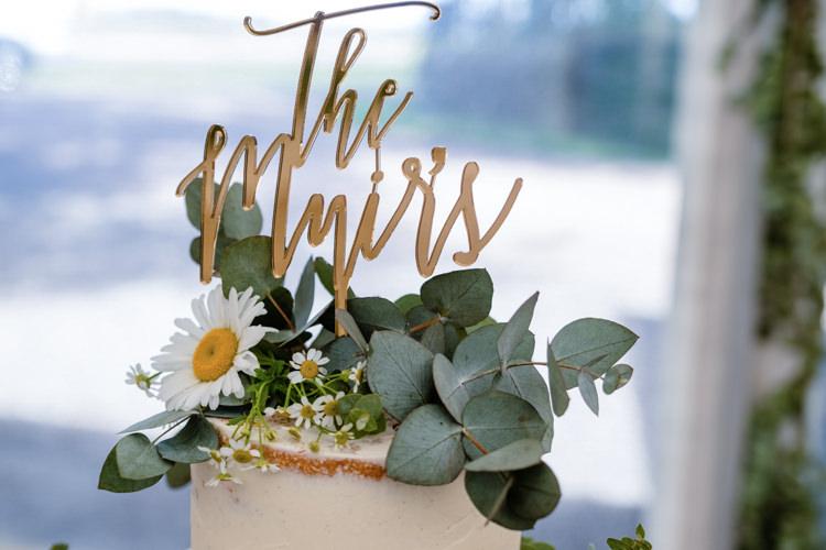 Cake Topper Name Boho Eucalyptus Green White Modern Wedding http://www.euanrobertsonweddings.com/
