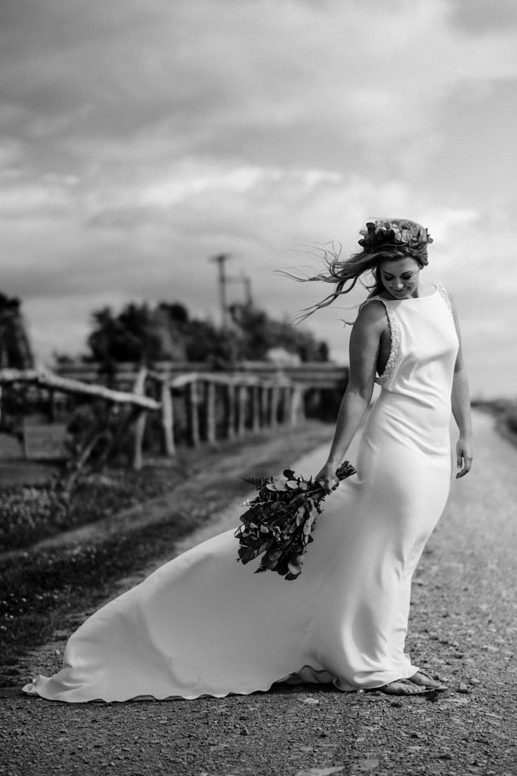 Bride Bridal Gown DIY Home Made Dress Boho Eucalyptus Green White Modern Wedding http://www.euanrobertsonweddings.com/