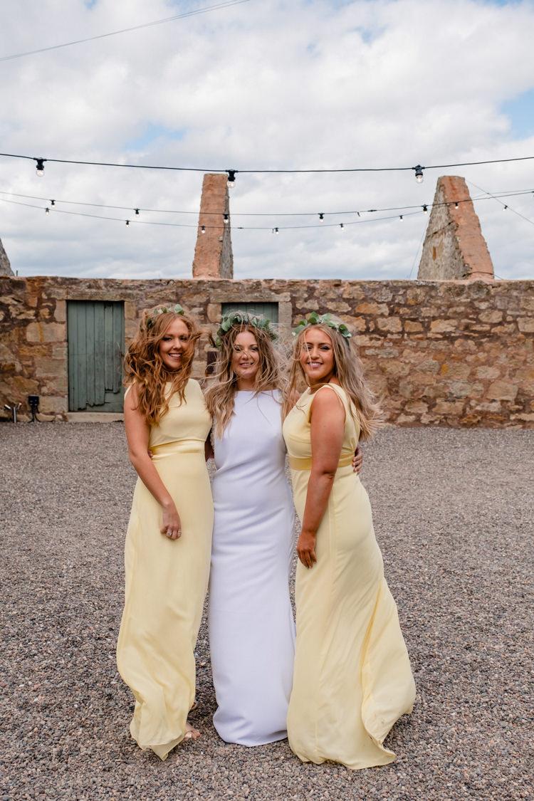 Long Yellow Bridesmaid Dresses Boho Eucalyptus Green White Modern Wedding http://www.euanrobertsonweddings.com/