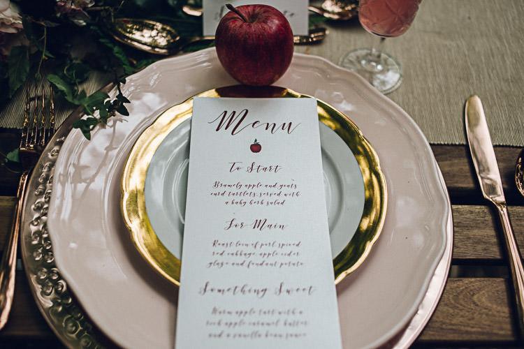 Stationery Menu Calligraphy Florals Autumn Magical Snow White Woodland Wedding Ideas https://www.chloeleephoto.co.uk/