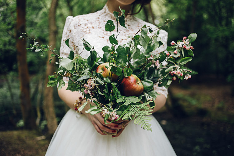 Bouquet Greenery Apples Autumn Foliage Magical Snow White Woodland Wedding Ideas https://www.chloeleephoto.co.uk/