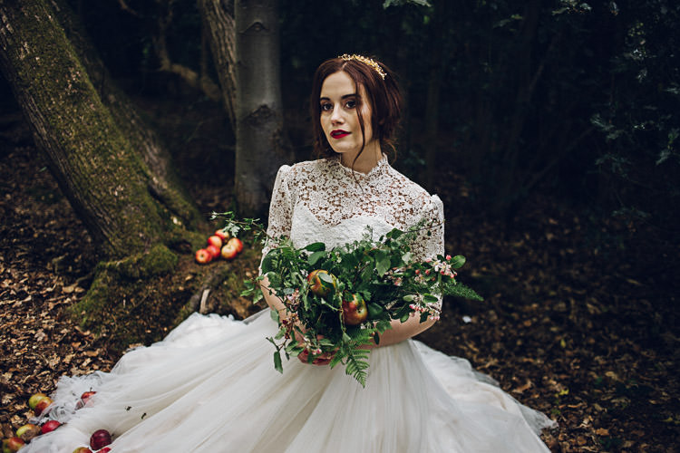 Tulle Lace Dress Gown Bride Bridal Magical Snow White Woodland Wedding Ideas https://www.chloeleephoto.co.uk/