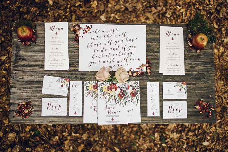 Stationery Invitations Calligraphy Florals Autumn Magical Snow White Woodland Wedding Ideas https://www.chloeleephoto.co.uk/