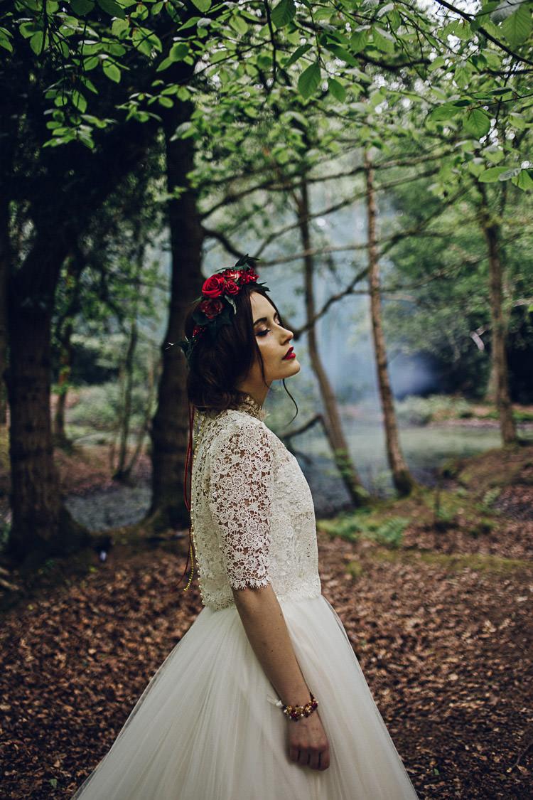 Smoke Bomb Tulle Lace Dress Gown Bride Bridal Magical Snow White Woodland Wedding Ideas https://www.chloeleephoto.co.uk/
