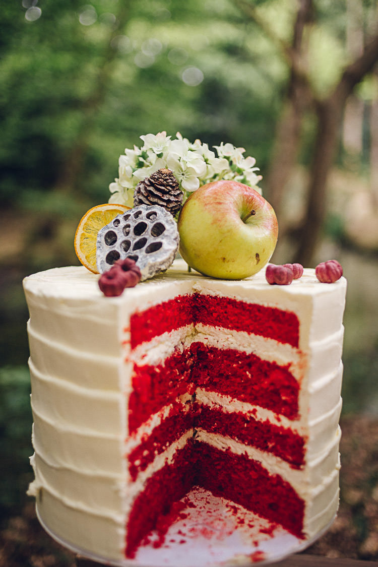 Red Velvet Cake Fruit Topper Magical Snow White Woodland Wedding Ideas https://www.chloeleephoto.co.uk/